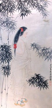 dai Painting - Chang dai chien beauty in red hair kerchief wooden shoes white robe bamboos 1980 traditional Chinese