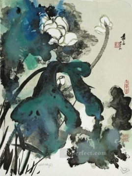 Traditional Chinese Art Painting - Chang dai chien lotus 1973 traditional Chinese