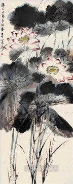 Chinese Painting - Chang dai chien lotus 9 traditional Chinese