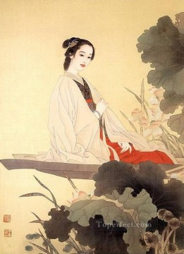 Chinese Painting - Chinese lady in boat