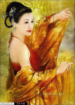 Chinese Painting - Chinese maiden in yellow