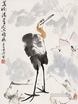 Fangzeng crane and lotus traditional Chinese Oil Paintings