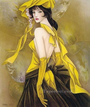 Chinese Painting - Feng cj Chinese girl in yellow