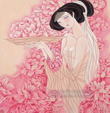Chinese Painting - Feng cj Chinese girl pink