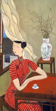 Hu yongkai Chinese lady 3 Oil Paintings