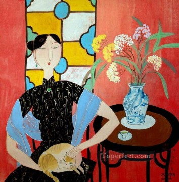 Chinese Painting - Hu yongkai Chinese lady 5