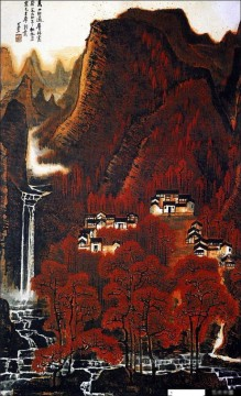 Traditional Chinese Art Painting - Li keran red mountain traditional Chinese