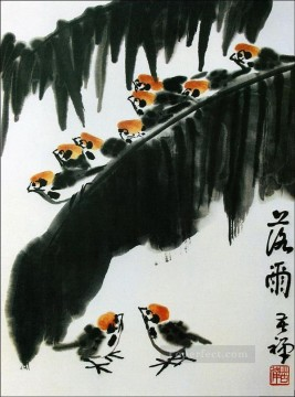 Li kuchan little birds traditional Chinese Oil Paintings