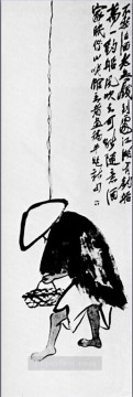 Chinese Painting - Qi Baishi a fisherman with a fishing rod traditional Chinese