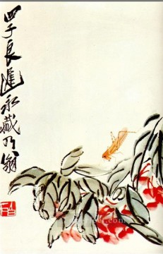 Chinese Painting - Qi Baishi impatiens and locusts traditional Chinese