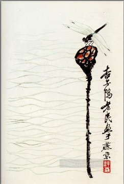 Chinese Painting - Qi Baishi lotus and dragonfly traditional Chinese