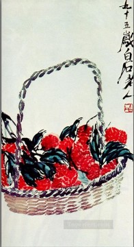 Qi Baishi lychee fruit 2 traditional Chinese Oil Paintings
