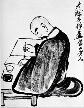 Chinese Painting - Qi Baishi portrait of a shih tao traditional Chinese