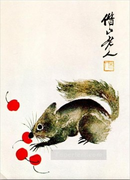 Chinese Painting - Qi Baishi protein and cherries traditional Chinese