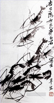 Qi Baishi shrimp 2 traditional Chinese Oil Paintings