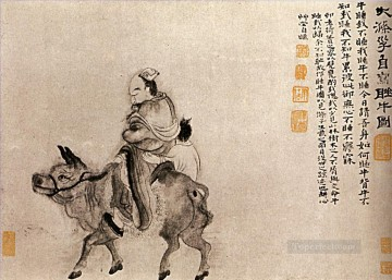 Shitao back home after a night of drunkenness 1707 traditional Chinese Oil Paintings
