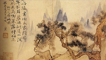 Shitao in meditation at the foot of the mountains impossible 1695 traditional Chinese Oil Paintings