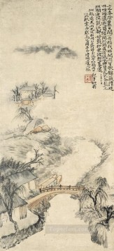Traditional Chinese Art Painting - Shitao river bank in rain traditional China