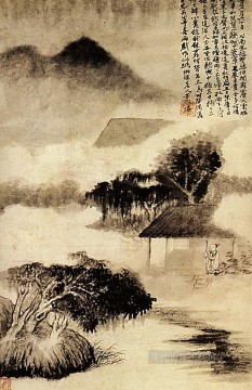 China Oil Painting - Shitao sound of thunder in the distance 1690 traditional China