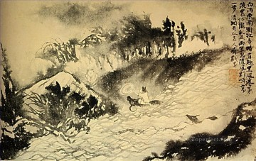China Oil Painting - Shitao the crosses torrent 1699 traditional China
