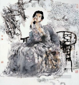 Chinese Painting - Wu Xujing ink girl Chinese