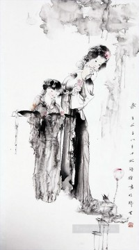 Wu Xujing ink girls Chinese Oil Paintings