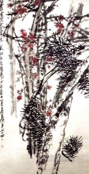 Wu cangshuo pine and plum blossom traditional China Oil Paintings