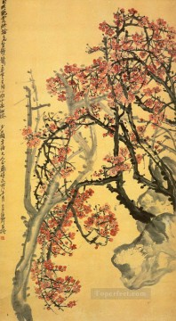 Wu cangshuo red plum blossom traditional China Oil Paintings