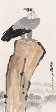 China Oil Painting - Wu zuoren eagle on rock traditional China