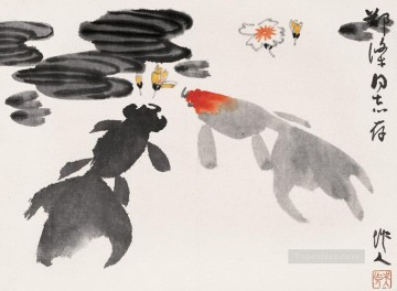 China Oil Painting - Wu zuoren goldfish and flowers traditional China