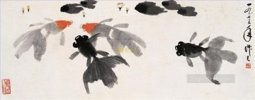 Traditional Chinese Art Painting - Wu zuoren goldfish ink traditional China