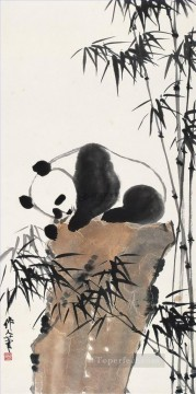 China Oil Painting - Wu zuoren panda traditional China