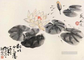 monet water lily lilies waterlily waterlilies Painting - Wu zuoren waterlily pond traditional China