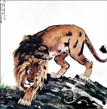 lion art - Xu Beihong lion and snake traditional China