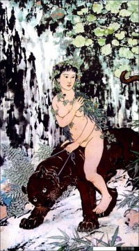 Traditional Chinese Art Painting - Xu Beihong nude on lion traditional China