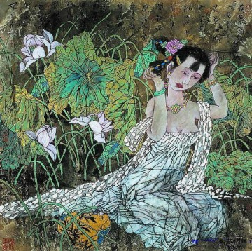 Chinese Painting - Xu Huiquan Chinese girl and lotus 2