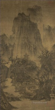 Traditional Chinese Art Painting - a solitary temple amid clearing peaks 960 Li Cheng traditional Chinese