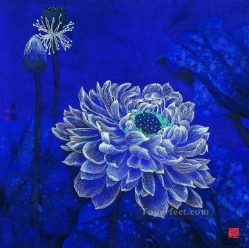blue flowers traditional Chinese Oil Paintings