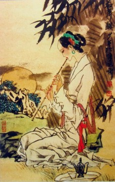 Traditional Chinese Art Painting - girl playing Hsiao traditional Chinese