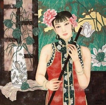 Chinese Painting - lady and lotus traditional Chinese