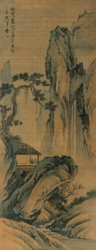 lan ying watching waterfall traditional Chinese Oil Paintings