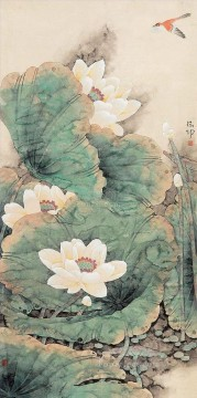 lotus and bird traditional Chinese Oil Paintings