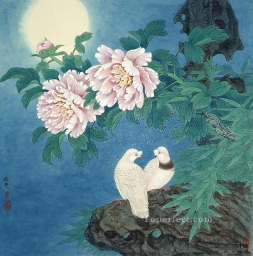 lovers under moon traditional Chinese Oil Paintings