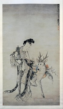 ma gu holding a vase with a deer 1766 Huang Shen traditional Chinese Oil Paintings