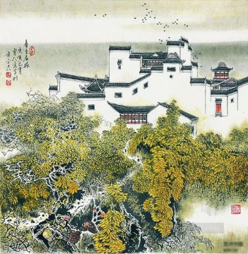 China Oil Painting - Cao renrong Suzhou Park in traditional China