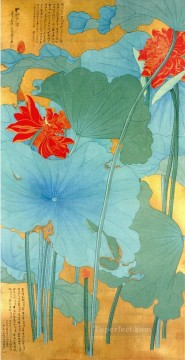 Chinese Painting - Chang dai chien lotus 1948 traditional China