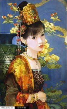 Chinese girl in gold Oil Paintings