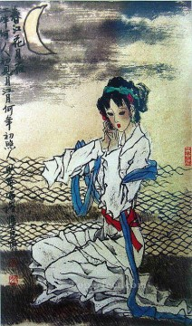Chinese Painting - Chinese girl under mooon