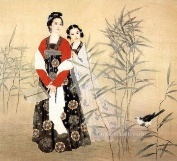 Chinese Painting - Chinese maiden in reed field and bird