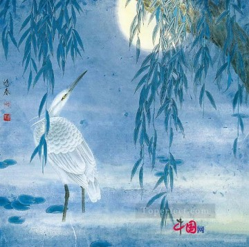 Egret at night traditional China Oil Paintings